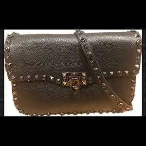 Valentino Rockstud Rolling Black Cross Body Bag